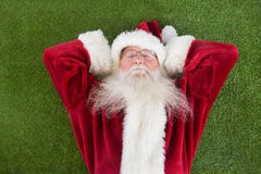 Santa lies, sleeps and has a nice dream Royalty Free Stock Photo