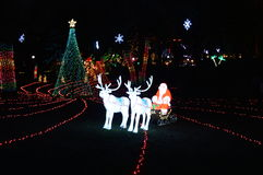 Santa at Lincoln Park Zoo Lights. Chicago, USA, 31st December 2016 : To walk through the luminous display at New Year's Eve at Lincoln Park Zoo in Chicago Royalty Free Stock Image