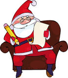 Santa with the list. Vector illustration with Santa sitting in large brown chair Royalty Free Stock Photo