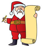 Santa With List. Santa holding a pencil and a blank Christmas list Royalty Free Stock Images