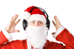 Santa listening a music Royalty Free Stock Image