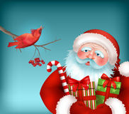 Santa is Listening to the Bird Singing Stock Photography