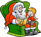 Santa and a little boy. Hand-drawn Vector illustration of an Santa Claus tells a story to an little boy Royalty Free Stock Image