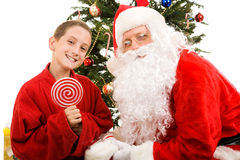Santa and Little Boy Royalty Free Stock Photos