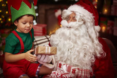 Santa with little boy Royalty Free Stock Images