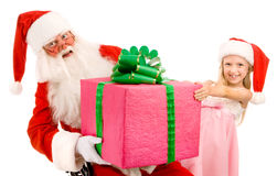 Santa and a Little Girl White Background Royalty Free Stock Photo