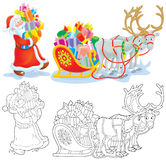 Santa loads gifts into a sleigh vector illustration