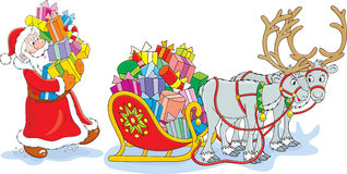 Santa loads his sleigh vector illustration