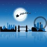 Santa In London över blå illustration för vektor för natthimmel royaltyfri illustrationer