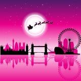 Santa In London över magentafärgad illustration för vektor för natthimmel vektor illustrationer