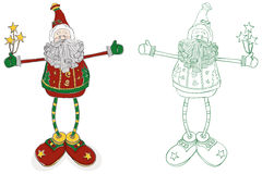 Santa Long Legs. A whimsical interpretation of Santa. Hand-drawn in a loose style. Global colors used for easy edit. Color and outline on separate layers. Vector Royalty Free Stock Photos