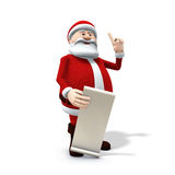 Santa with long wish list. 3d rendering/illustration of a cartoon santa with along wishlist Stock Photos
