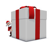 Santa looking around very big present. 3d rendering/illustration of a cartoon santa behind a huge present, looking around it Stock Images