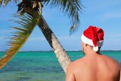 Santa looking at ocean Stock Photography