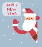 Santa Looking Out Corner Cartoon Character Happy New Year Greeting Card Flat Design Vector Illustration Royalty Free Stock Photo