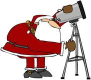 Santa Looking Through A Telescope Stock Photography