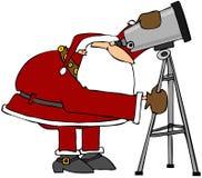 Santa Looking Through A Telescope Stock Photography