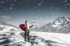 Santa looking for the way. Mixed media Royalty Free Stock Image