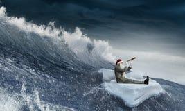 Santa looking for the way. Mixed media Stock Image