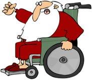Santa louca em uma cadeira de rodas Imagem de Stock