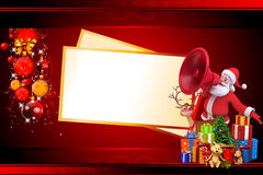 Santa with loud speaker and big christmas cards Royalty Free Stock Photo