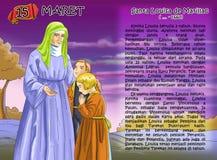 Santa Louisa de Marillac christian Calendar  idea page. Santo santa chriistian concept table calendar and storybook christian children Stock Photography