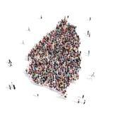 Santa Lucía del mapa de la forma del grupo de la gente Stock de ilustración