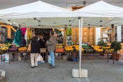 Santa Lucia, Gran Canaria in Spain - December 13, 2017: Fruit market on the street in Santa Lucia, a small village in. Shops and fruit market on the street in stock images