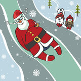 Santa  luge racer.Humorous illustrations.Winter Royalty Free Stock Photo