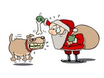 Santa and the mad dog. Santa Claus trying to befriend an angry dog with a bone Stock Photo