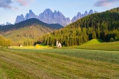 Santa Maddalena church in Val di Funes valley Royalty Free Stock Photos