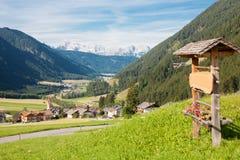 The Santa Maddalena Valley. Panoramic view of Santa Maddalena valley in the Dolomites, Italy Royalty Free Stock Image