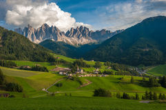 Santa Maddalena Village and the Dolomites, Val di Funes, Italy Stock Photos