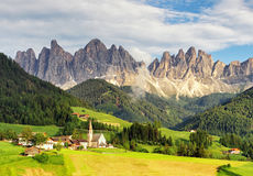 Santa Maddalena village in front of the Geisler or Odle Dolomite Royalty Free Stock Photo