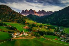 Santa Maddalena village in front of the Geisler or Odle Dolomite. S Group, Val di Funes, Trentino Alto Adige, Italy, Europe Royalty Free Stock Photos