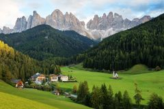 Santa Maddalena village in front of the Geisler or Odle Dolomites Group Stock Photos
