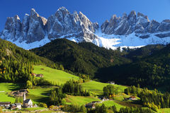 Santa Maddalena village. In front of the Geisler or Odle Dolomites Group, Val di Funes, Italy, Europe Royalty Free Stock Images