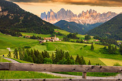 Santa Maddalena village in front of the Odle Dolomites Group Stock Photo