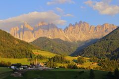 Santa Magdalena village in front of Dolomites Group, Val di Funes,, Stock Images