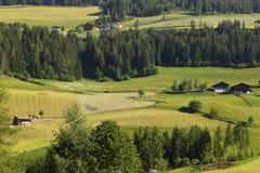 Santa Magdalena village in Val di Funes, Royalty Free Stock Photo