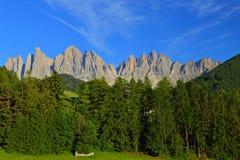 Santa Magdalena village in Val di Funes, Stock Photo