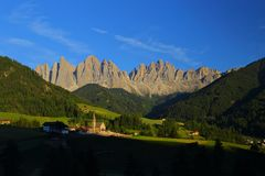 Santa Magdalena village in Val di Funes, Stock Photos