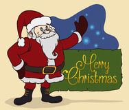 Santa with Magic Glows, Vector Illustration royalty free stock images