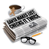 Santa Makes List newspaper headline. EPS 10 vector royalty free stock illustration Stock Images