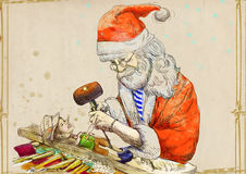 Santa making Pinocchio. Santa Claus as a master of all trades and fulfilled dreams. Here, as a woodcarver carves from wood-block Pinocchio. Hand drawing Stock Photography
