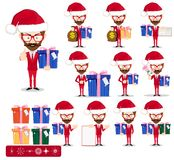 Santa Man avec des cadeaux, ensemble de vecteur illustration stock