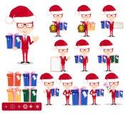 Santa Man avec des cadeaux, ensemble de vecteur illustration libre de droits