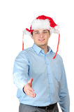 Santa man saying welcome Royalty Free Stock Photo