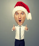 Santa man showing thumbs up Royalty Free Stock Photo