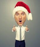 Santa man showing thumbs up. Amazed santa man showing thumbs up Royalty Free Stock Photo